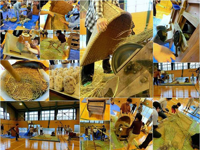 佐岡小昔の農機具体験