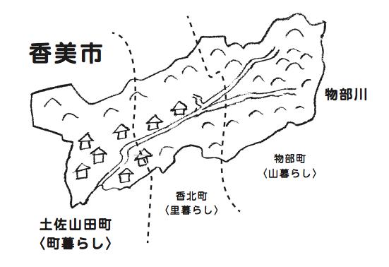 香美市イラスト(町別)