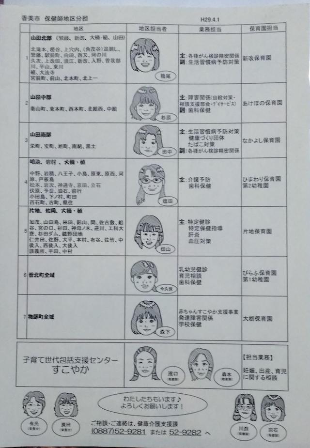 現在、香美市には地区担当保健師さんが7人いらっしゃいます!