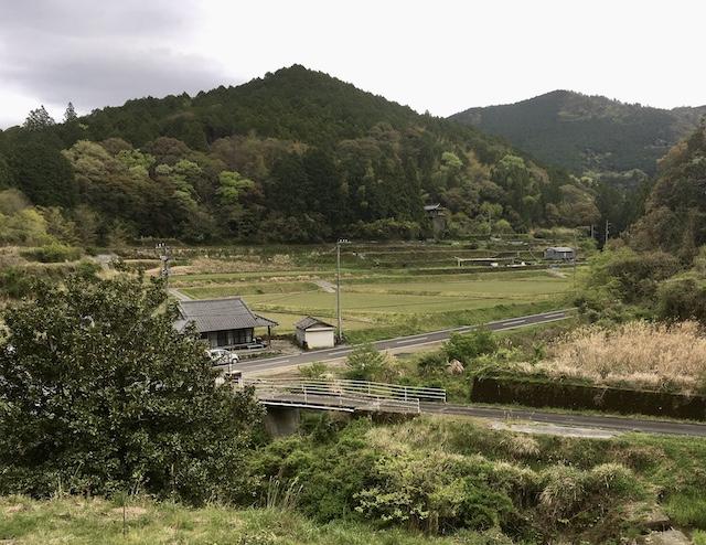 −菜園からの風景− 髙村家が食べるお米は、家から見える田んぼで栽培されるものを購入している